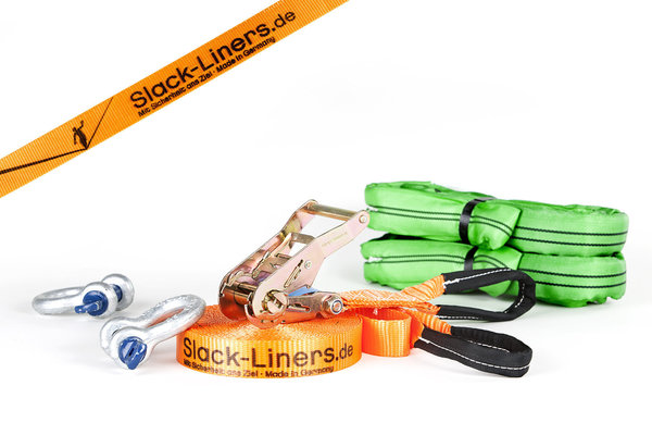 6 Teiliges Slackline-Set - 35mm breit - 15m lang Orange