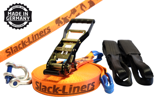 6 Teiliges Slackline-Set - 50mm breit - 30m lang Orange